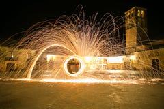 Lanas de acero en la noche Foto de archivo