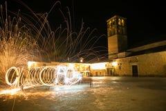 Lanas de acero en la noche Foto de archivo libre de regalías