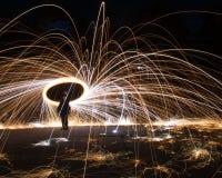 Lanas de acero de la exposici?n larga fotos de archivo