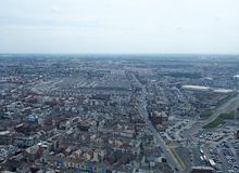 Aerial panoramic view of the town of blackpool looking east showing the streets and roads of the town with lancashire countryside. Lancashire, England - June 10 royalty free stock images