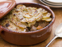Lancashire Hot Pot. With Spoon and Plates Stock Photography