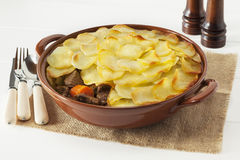 Lancashire Hotpot. Regional speciality Lancashire Hot Pot, lamb and vegetables topped with sliced potatoes and oven baked. Often served in gastro pubs royalty free stock images