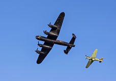 Lancaster Bomber and Hawker Hurricane Fighter Royalty Free Stock Photography