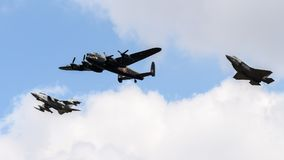 Lancaster Bomber In Formation With A Tornado And F35 Jet Stock Image