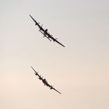 Lancaster bombers. Southport, Merseyside,UK.  21st September 2014. Pair of Lancaster Bombers at the Southport Airshow Royalty Free Stock Photo