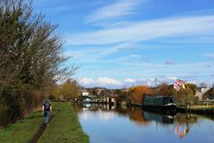Lancaster canal at Galgate with boats moored Stock Photos