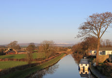 Lancaster Canal near Cabus, Lancashire, UK Royalty Free Stock Image