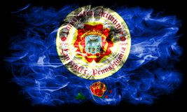 Lancaster city smoke flag, Pennsylvania State, United States Of America.  Stock Image