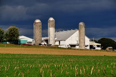 Lancaster County, PA: Amish Farm with Silos Stock Images