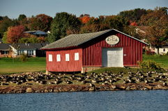 Lancaster County, PA: Red Boathouse & Canada Geese Royalty Free Stock Photo