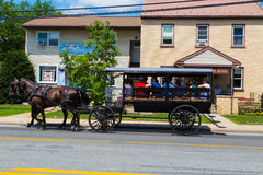 Lancaster County Tourists in Large Horse Drawn Wagon Royalty Free Stock Photography