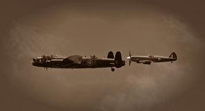 Lancaster e spitfire Fotografia Stock