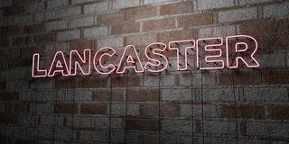 LANCASTER - Glowing Neon Sign on stonework wall - 3D rendered royalty free stock illustration Stock Photography