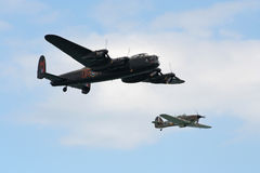 Lancaster and hurricane. Lancaster world war 2 bomber and hurricane wwII fighter plane Displaying at Eastbourne airshow Stock Photos