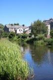 Lancaster kanal som är med full besittningsrätt, Lancaster, England Fotografering för Bildbyråer