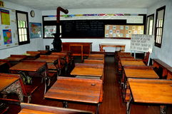 Lancaster, PA: Amish Village Schoolroom Interior Stock Images