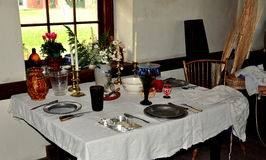 Lancaster, PA: Dining Table at Old Stone Tavern Royalty Free Stock Photo