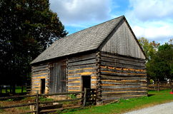 Lancaster, PA: Fachwerk Log Farm House. Lancaster, Pennsylvania:  Circa 1750 Germanic fachwerk Log Farm home at the Landis Valley Village and Farm Museum Royalty Free Stock Photos