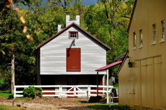 Lancaster, PA: Landis Museum Buildings. Lancaster, Pennsylvania:  Education Building and Yellow Barn at the Landis Valley Village and Farm Museum Royalty Free Stock Image