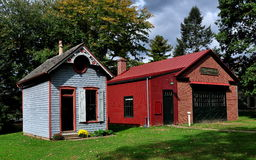 Lancaster, PA: Landis Museum Buildings. Lancaster, Pennsylvania:  The Tin Shop (left) and Pioneer Fire Company (right) at the Landis Valley Village and Farm Stock Image