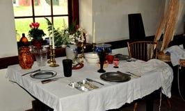Lancaster, PA: Tavolo da pranzo alla vecchia locanda di pietra Fotografia Stock Libera da Diritti