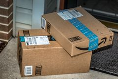 Two Amazon Prime brown boxes royalty free stock images