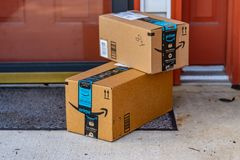 Two Amazon Boxes royalty free stock photography