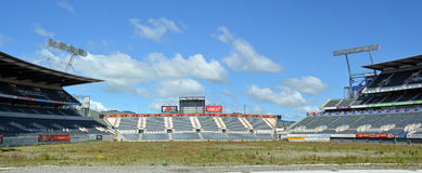 Lancaster Park Panorama - A Sad Picture of Dereliction. Christchurch, New Zealand - October 12, 2013: Lancaster Park, formerly Jade Stadium and currently known royalty free stock image