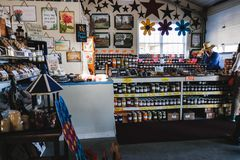 LANCASTER, PENNSYLVANIA - MARCH 21, 2018: Interior of rural organic market. Natural products sale. royalty free stock photos