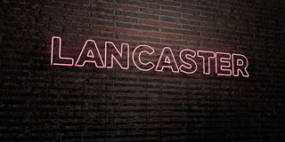LANCASTER -Realistic Neon Sign on Brick Wall background - 3D rendered royalty free stock image Stock Photography