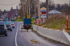 LANCASTER, U.S.A. - 18 APRILE, 2018: Vista all'aperto della parte posteriore del carrozzino antiquato di Amish con un'equitazione Immagine Stock Libera da Diritti