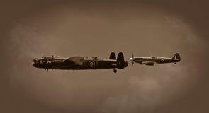Lancaster und Spitfire Stockfoto