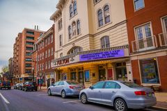 LANCASTER, USA - APRIL, 18, 2018: Outdoor view of cars parked at one side of the road with some downtown Lancaster. Pennsylvania in a cloudy day stock photos