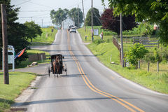 LANCASTER, USA - JUNE 25 2016 - Amish people in Pennsylvania Stock Image