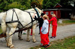 Lancastere, PA: School Kids Petting Horse Royalty Free Stock Photography