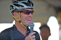 Lance Armstrong at 2012 Livestrong event. BLUE BELL, PA - AUGUST 19: Lance Armstrong, founder of the Livestrong charity, addresses the crowd prior to riding in Royalty Free Stock Photography