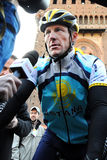 Lance Armstrong. Milan, Italy - 21 March, 2009: cyclist Lance Armstrong of Team Astana waves prior the start of the 100th Milan San Remo classic cycling race Royalty Free Stock Image
