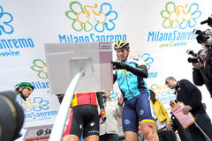 Lance Armstrong. Milan, Italy - 21 March, 2009: cyclist Lance Armstrong of Team Astana waves prior the start of the 100th Milan San Remo classic cycling race Royalty Free Stock Photo