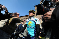 Lance Armstrong. Milan, Italy - 21 March, 2009: cyclist Lance Armstrong of Team Astana waves prior the start of the 100th Milan San Remo classic cycling race Stock Images