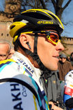 Lance Armstrong. Milan, Italy - 21 March, 2009: cyclist Lance Armstrong of Team Astana waves prior the start of the 100th Milan San Remo classic cycling race Royalty Free Stock Images