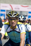 Lance Armstrong. The bicyclist Lance Armstrong   (Astana Team) at the international cycling event 100° Giro d'Italia. The photo is takes at the start of the Royalty Free Stock Photography