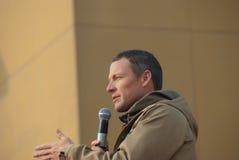 Lance Armstrong avec les troupes images stock