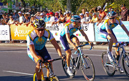 Lance Armstrong comeback. Lance Armstrong and Astana team mates in his comeback race at the Tour Downunder in Adelaide, Australia, Sunday January 18th, 2008 stock photo