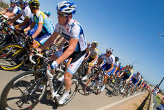 Lance Armstrong fra il pelaton Fotografia Stock Libera da Diritti