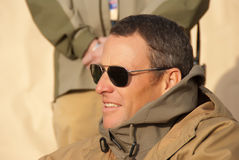 Lance Armstrong with the Troops. Lance Armstrong with troops at the US Embassy Kabul during a USO Tour Event.  This was the first trime a USO tour event was Stock Photo