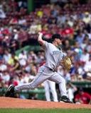 Lance Carter, Tampa Bay Devil Rays. Tampa Bay Devil Rays pitcher Lance Carter #38. (Image from color slide Stock Photo