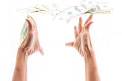 Lance cem dólares de conta Foto de Stock Royalty Free