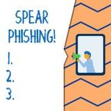 Lance conceptuelle Phishing d'apparence d'écriture de main Texte de photo d'affaires envoyant de faux emails pour extraire des do illustration libre de droits