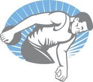 Lancée de disque d'athlète rétro Images libres de droits