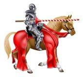 Lance Knight medieval en caballo Imagen de archivo libre de regalías